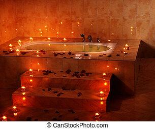 intérieur, bougie, bain