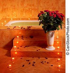 intérieur, bougie,  sauna