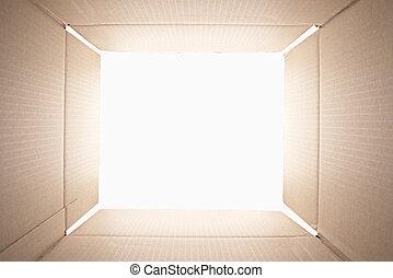 intérieur, box., carton, vue