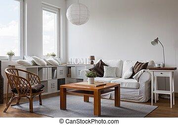 intérieur, brun, blanc