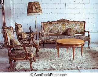 intérieur, brun, classique, sofa