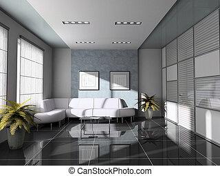 intérieur bureau, 3d, rendre, sofa blanc