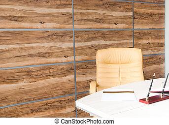 intérieur bureau, conception, à, mur, de, synthétique, bois, panneaux