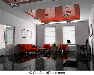 intérieur bureau, dans, rouges, 3d, rendre