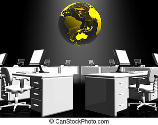 intérieur bureau, les, internet.