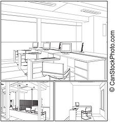 intérieur bureau, salles