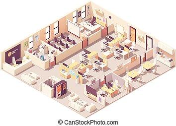 intérieur bureau, vecteur, plan, isométrique