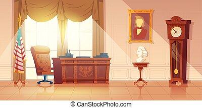 intérieur bureau, vecteur, président usa, dessin animé
