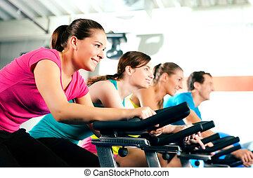 intérieur, bycicle, cyclisme, dans, gymnase