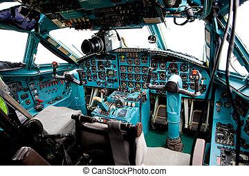 intérieur, cabine, pilote