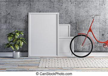 intérieur, cadre,  3D, Vélo, vide