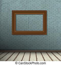 intérieur, cadre mur, vendange, salle