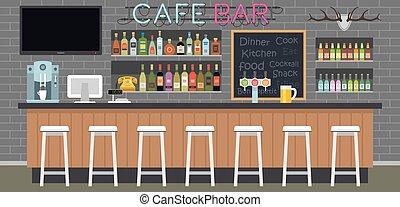 intérieur, café, barre