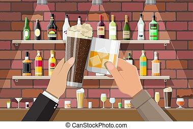intérieur, café, ou, bar., pub