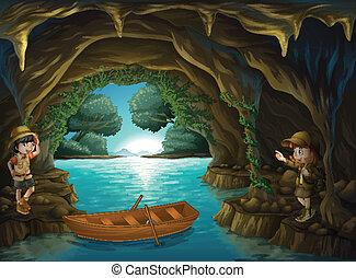 intérieur, caverne, jeune, explorateurs
