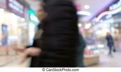 intérieur, centre commercial, brouillé, gens