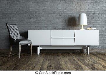 intérieur, chaise, salle moderne