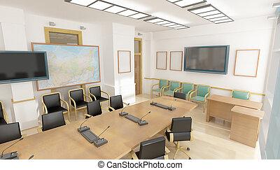 intérieur, chaises, bureau, rouges