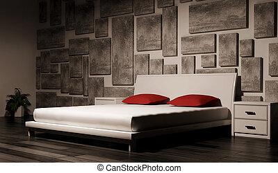 intérieur, chambre à coucher, 3d