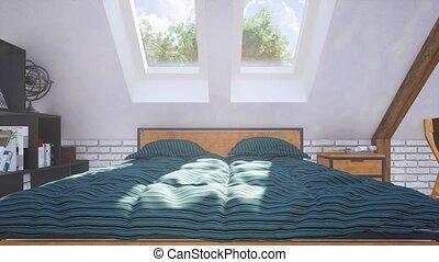 intérieur, chambre à coucher, lit, grenier, closeup, 3d, double