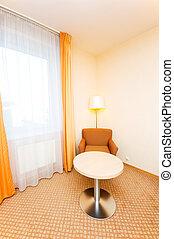 intérieur, chambre hôtel