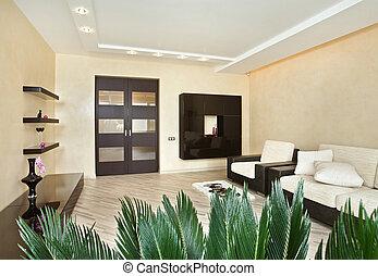 intérieur, chaud, moderne, drawing-room, tonalités