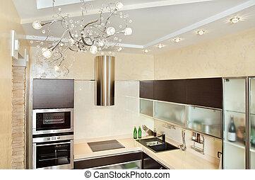 intérieur, chaud, moderne, tonalités, cuisine