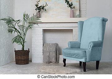intérieur, cheminée, bleu, vivant, classique, fauteuil, meubles, arrière-plan., usines, salle, potted