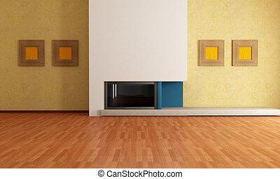 intérieur, cheminée, vide