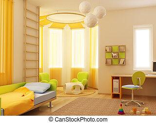 intérieur, children\'s, salle