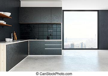 intérieur, clair, cuisine