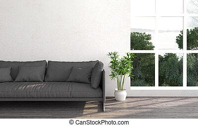 intérieur, clair, moderne, render, 3d