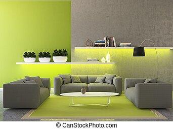 intérieur, clair, salle,  3D