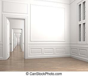 intérieur, coin, salle, vide, classique