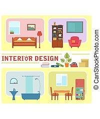 intérieur, concept, conception, illustration