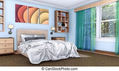 intérieur, conception, chambre à coucher, intérieur, animation, 3d