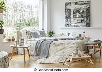 intérieur, confortable, chambre à coucher