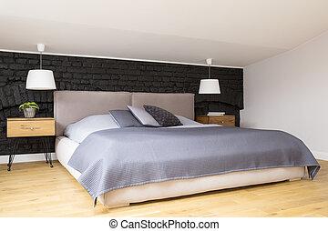 intérieur, confortable, gris, chambre à coucher