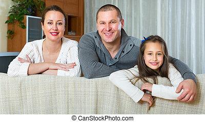 intérieur, conjugal, famille, heureux