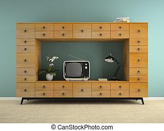 intérieur, consol, partie, 3d, rendre, tv, retro