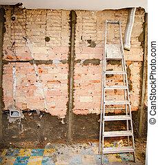 intérieur, construction, débris, démolition, cuisine