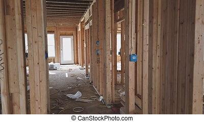 intérieur, construction maison, bois, encadrement, maison, ...
