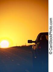 intérieur, coucher soleil, autoroute
