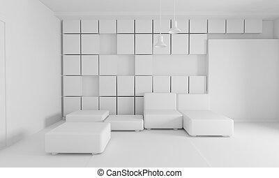 intérieur, couleur, blanc, moderne