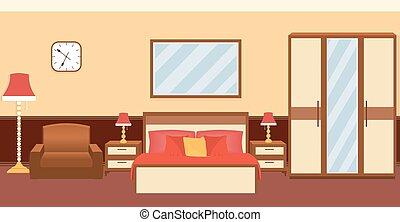 intérieur, couleurs, chaud, furniture., chambre à coucher