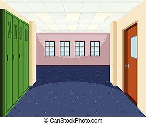 intérieur, couloir, école, scène
