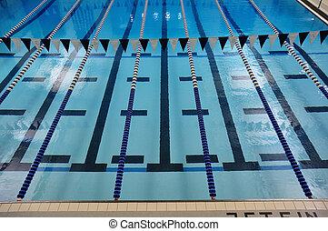 intérieur, couloirs, piscine, natation