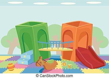 intérieur, cour de récréation, illustration