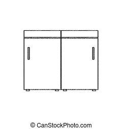 intérieur, croquis, meubles, cuisine