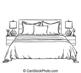 intérieur, croquis, moderne, chambre à coucher